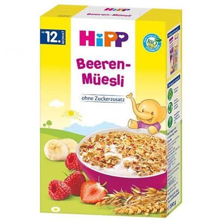 HIPP, Musli BIO, truskawki i maliny, bez dodatku cukru, od 12 miesiąca, 200 g