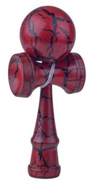 KENDAMA Japońska Drewniana Gra Zręcznościowa Czerwono-czarna